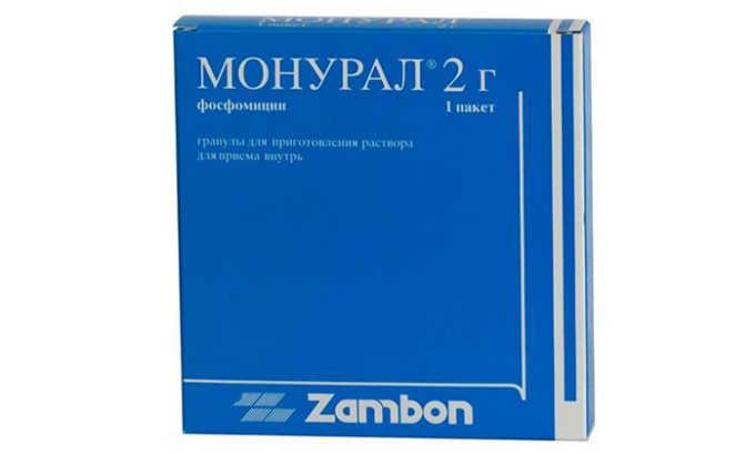 Для быстрого лечения цистита применяются антибиотики широкого спектра действия на основе фосфомицина, популярным препаратом данного вида является Монурал