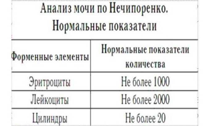 Показатели анализа мочи по Нечипоренко