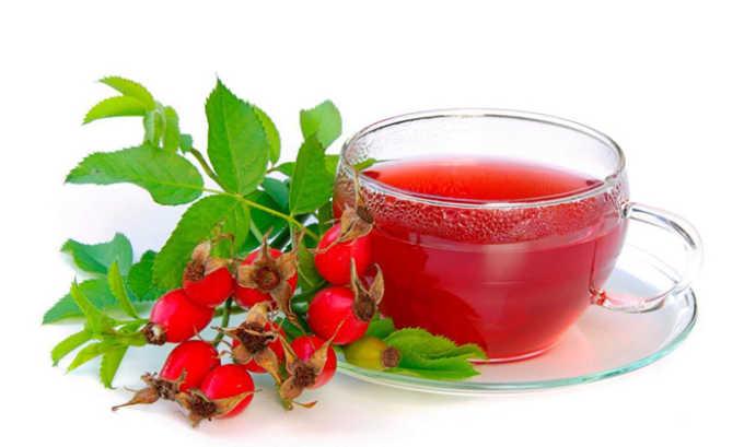 Настой плодов шиповника. выпивют по 1 стакану настоя 3 раза в день