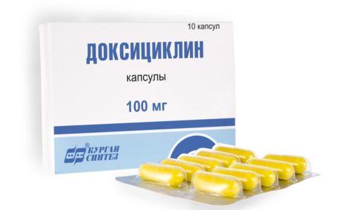 Лечение осложненной формы заболеваний подразумевает прием антибиотика Доксициклин